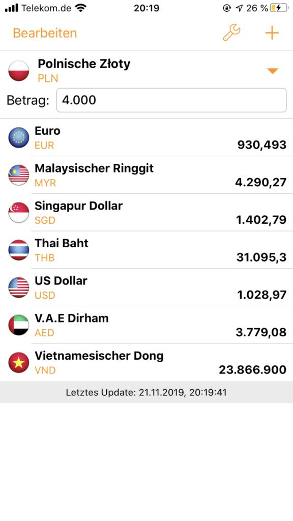 Währungsrechner App für dein Handy