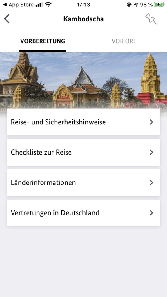 sicher Reisen mit der App vom Auswärtigen Amt